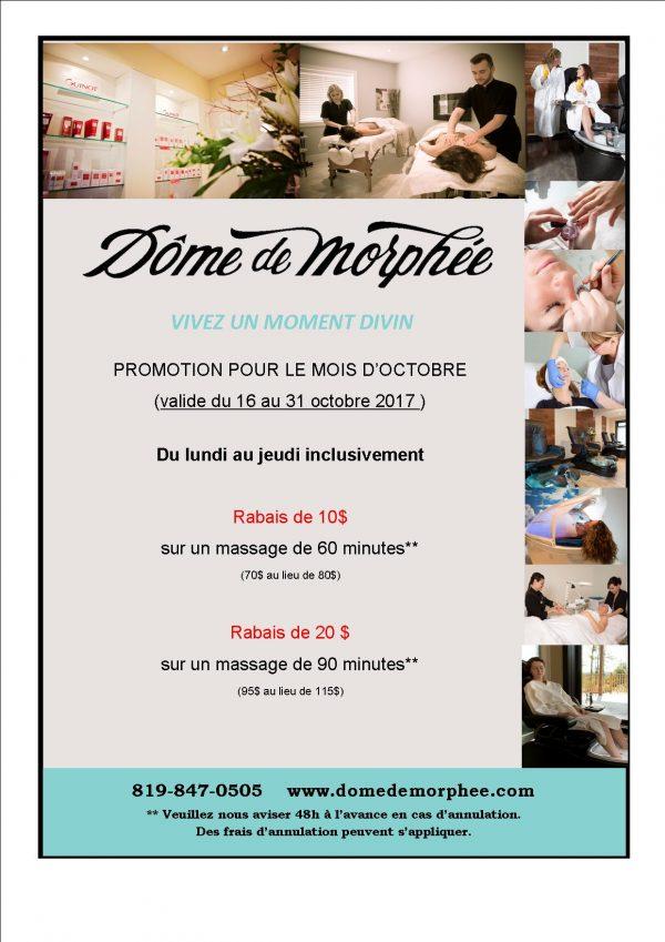 Promotions sur nos massages 10$ et 20$ de rabais